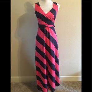 Lilly Pulitzer Pink Blue Striped Maxi Dress XS
